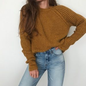 Mustard colored slouchy sweater